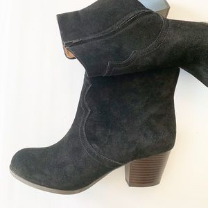 Lucky Brand Black Suede Western Booties